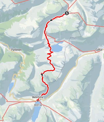 Karte / Montafoner Hüttenrunde - Neue Heilbronner Hütte bis Silvretta-Bielerhöhe