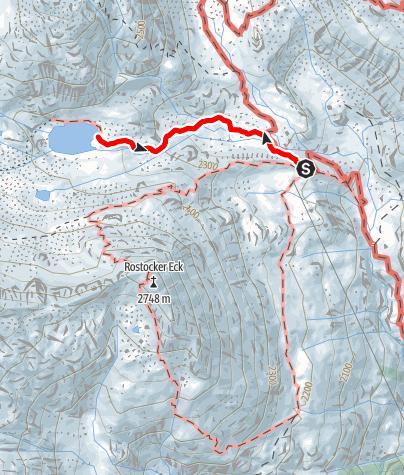Karte / Simonysee Wanderung von der Essener und Rostocker Hütte