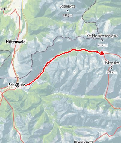 Karte / Von Scharnitz zum Karwendelhaus - Wandern ohne Gepäck Etappe 1