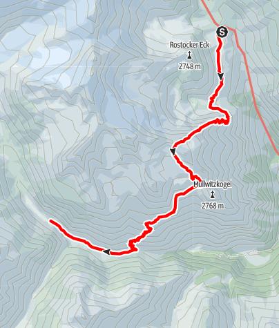 Karte / Verbindungsweg Essen-Rostocker Hütte - Clarahütte