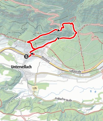 Karte / Ruine Khünburg 839 m über den Jägersteig