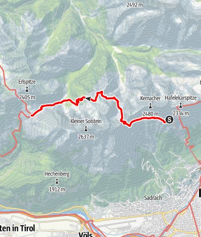 Karte / Zustieg von der Seegrube über Frau Hitt Sattel zum Solsteinhaus