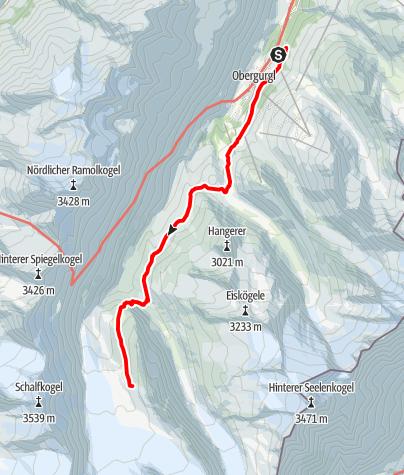 Karte / Hochwildehaus - Aufstieg von Obergurgl