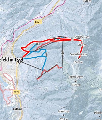 Karte / Seefelder Spitze (2221 m) übers Skigebiet Roßhütte