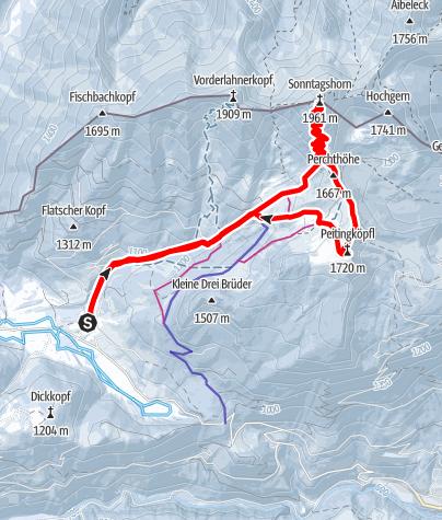 Karte / Schneeschuhtour auf das Sonntagshorn
