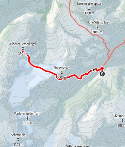 Karte / Lisener Fernerkogel (3298m) von der Franz Senn Hütte