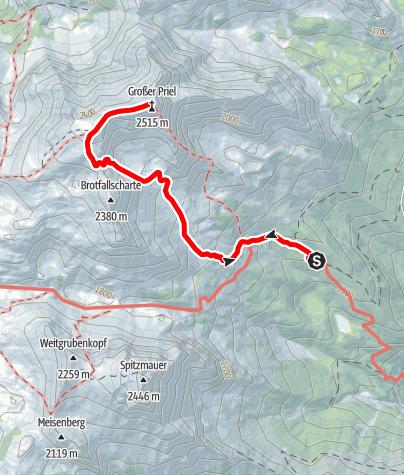 Karte / Großer Priel (2515m) vom Prielschutzhaus über die Brotfallscharte