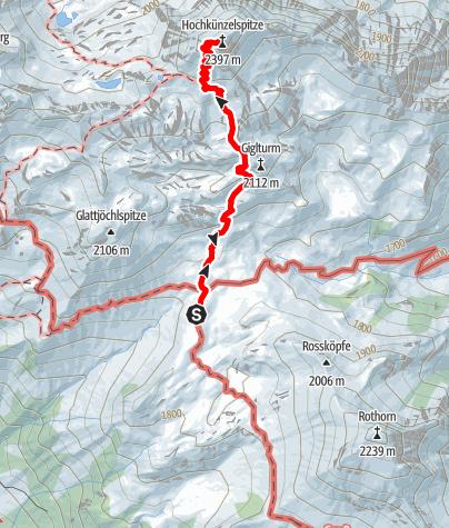 Karte / Hochkünzelspitze 2397 m von der Biberacher Hütte