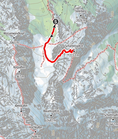 Karte / Auf die Schärtenspitze von der Blaueishütte