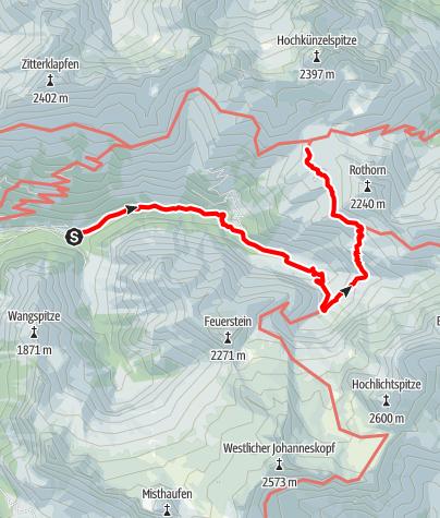 Karte / Vom Parkplatz Bad Rotenbrunnen über den Metzgertobel zur Biberacher Hütte