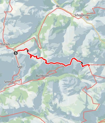 Karte / Vom Faschinajoch ( Hochschereweg ) zur Biberacher Hütte