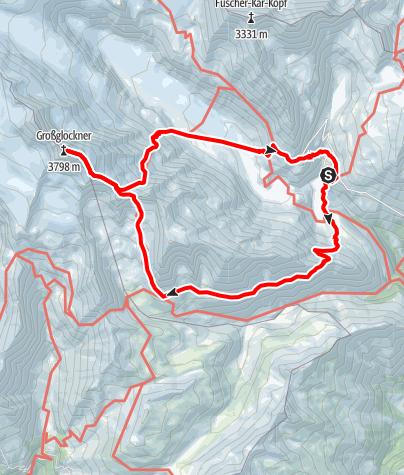 Karte / Großglockner, Weg der Erstbesteiger (Normalweg)