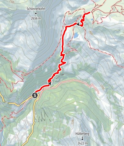 Karte / Aufstieg von der Schneebergbrücke zum Schneeberg