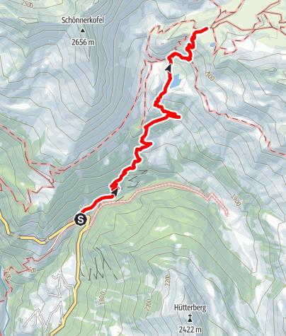 Karte / Aufstieg über den unteren Erlebnispfad zum Schneeberg