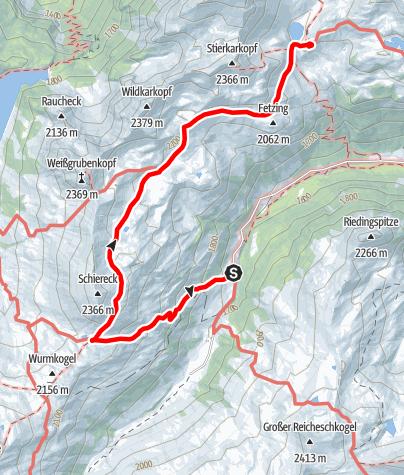 Karte / Zustieg Franz-Fischer-Hütte über Haselloch und Tauernweitwanderweg
