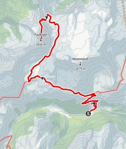 Karte / Faulkogel (2.654m) ab Riedingtal über die Franz-Fischer-Hütte