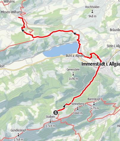 Karte / Wandertrilogie Etappe 35 Alpe Gund/Immenstadt-Missen-Wilhams - Wasserläufer-Himmelsstürmer Route