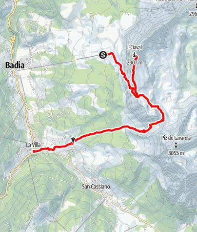 Karte / Auf den Heiligkreuz-Kofel/L'Ćiaval