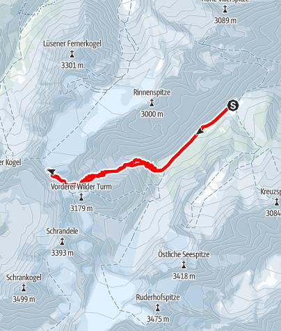 Karte / Wildes Hinterbergl (3288 m) über Berglasferner
