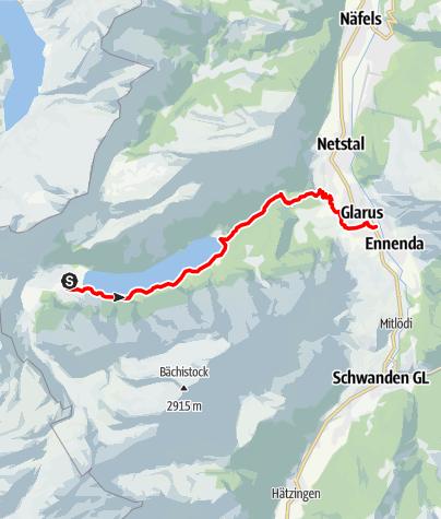 Karte / 55.08 Hinter Klöntal - Glarus, ViaSuworow