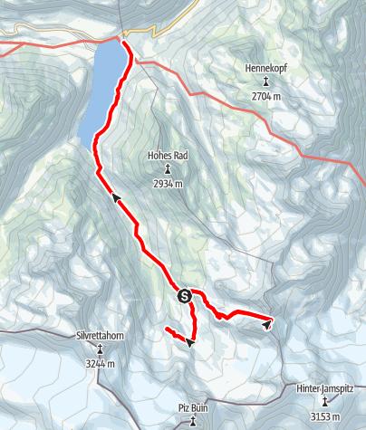 Karte / Ochsenkopf 3057 m und Vermuntkopf, Silvretta