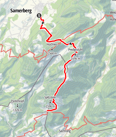 Karte / Samerberg - vom Riesenplateau zum Spitzstein - DAV-Weg Nr.216/211