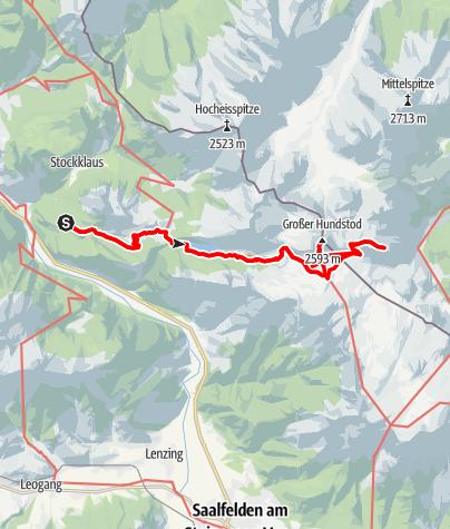 Karte / Gr. Hundstod 2594 m, im Steinernen Meer, Radanfahrt